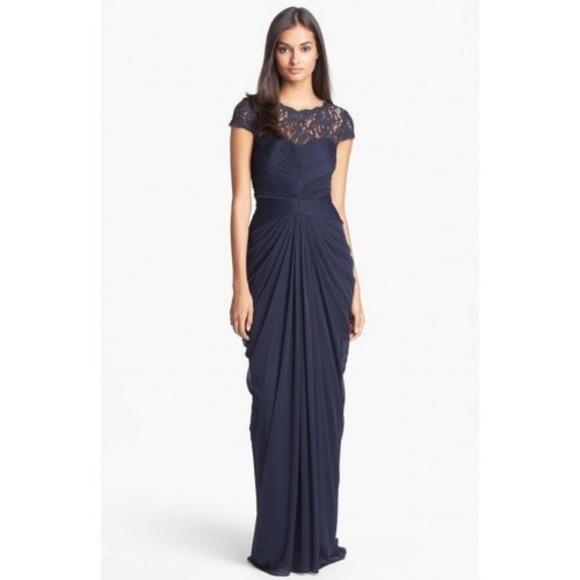 Adrianna Papell Dresses   Lace Yoke Vback Draped Mesh Gown   Poshmark